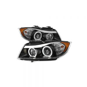 فیت 2006-2008 BMW E90 3-Series 4Door Black Halo LED Projector Eye LId Eye LId
