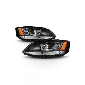 Fit Black 2011-2018 Volkswagen VW Jetta Sedan چراغهای جلو چراغهای جایگزین L + R